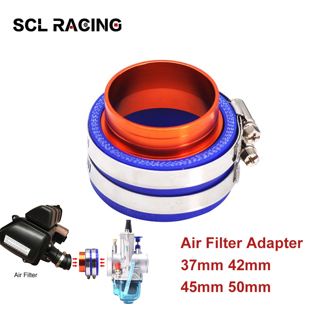 SCL Racing Universal 37mm 42mm 45mm 50mm Aluminum Rubber Motorcycle PE PWK Carburetor Intake Air Filter Joint Interface Adapter