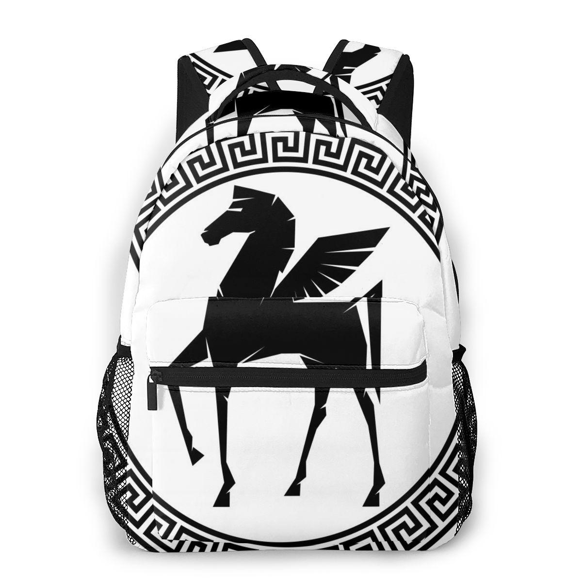 Рюкзак для путешествий Pegasus, Спортивная уличная сумка с рамкой для греческих ключей, летающая Черная лошадь