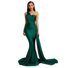 Une épaule Sexy robe Maxi longue sangle soirée robe de soirée robe vert marine Brugundy Satin