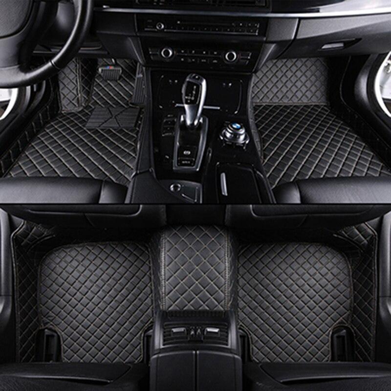 Custom car floor mats for mitsubishi outlander xl pajero 4 sport lancer grandis galant asx leather car mats auto accessories