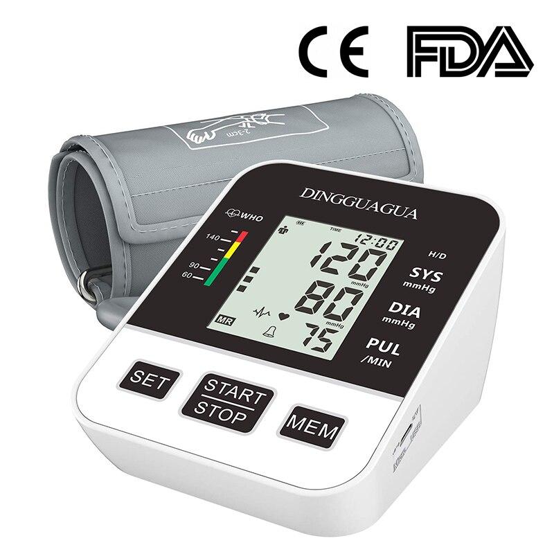 Casa Braço Automático Monitor de Pressão Arterial BP Tonômetro Esfigmomanômetro Medidor de Pressão para Medir a Pressão Arterial LCD displ