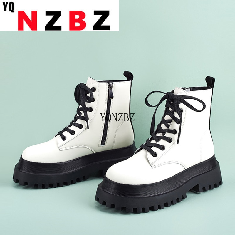 YQNZBZ 2021 Winter New Brand Women Ankle Chunky Boots Fashion Round Toe Zip Cross Lace-Up Platform H