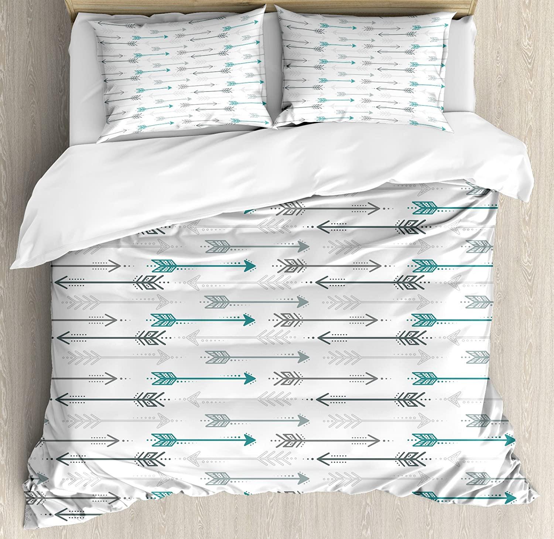 Juego de ropa de cama de 3 piezas Teal, juego Retro con diseño de flechas en línea Horizontal, encabezado hacia direcciones opuestas, estampado artístico, gris
