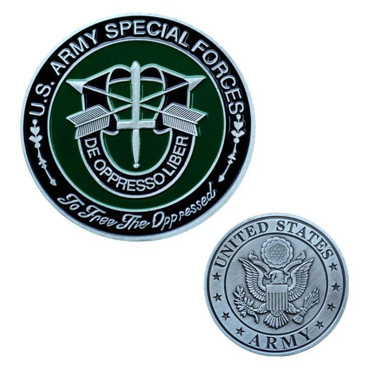 Boinas militares verdes USA Challenge De Oppresso Liber liberan De la moneda De las Fuerzas Especiales De la opresión
