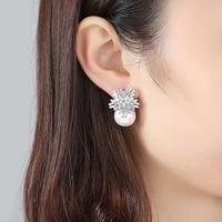 slbridal copper alloy cubic zirconia pearls stud earrings cz earring wedding bridal earring fashion jewelry girls women earrings