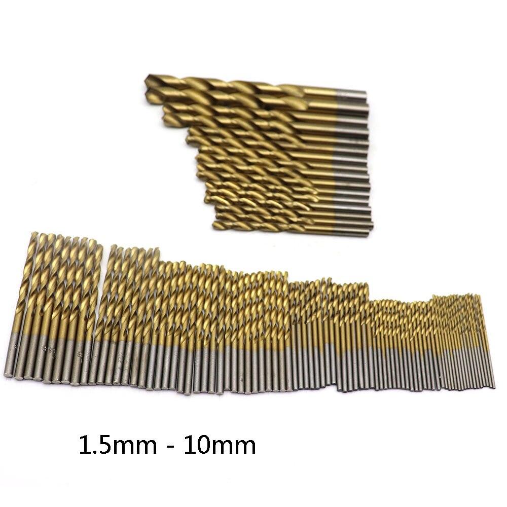 Fonte de alta velocidade aço-chapeado titanium anther broca broca em linha reta lidar com broca de mão 99pc instalado 1.5mm-10mm