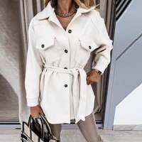 fashion single breasted button wool blend coat autumn women long sleeve solid overcoat winter turn down collar lace up outerwear