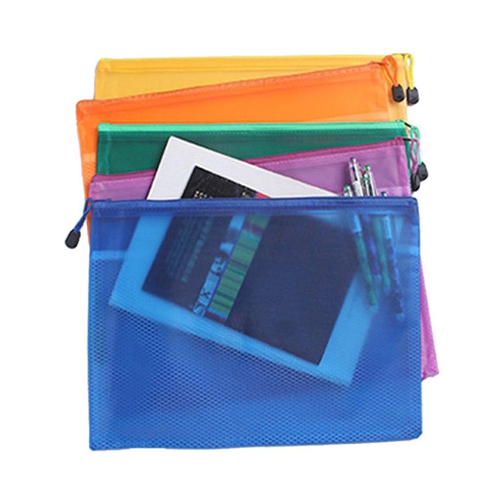 Estuche para lápices de Pvc de gran capacidad A4/A5, estuche para lápices de Pvc, estuche para cremallera de red con Clip A4, cartera impermeable, impresión personalizada