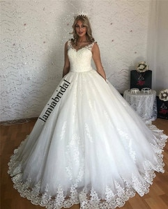Princess Ball Gown Lace Wedding Dresses 2020 Illusion Long Sleeves Plus Size Sequined White Puffy Tulle Muslim Vestido De Novia
