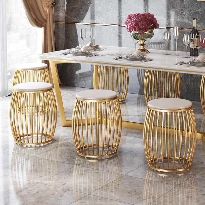 D ، 2019 طبل شكل الذهبي خلع الملابس البراز كرسي من الحديد مستديرة الأحذية مقعد لغرفة الطعام المعيشة