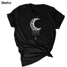 Umeko 2020 Women T-shirts Casual Moon and Stars Printed Tops Tee Summer Female T shirt Short Sleeve T shirt For Women Clothing