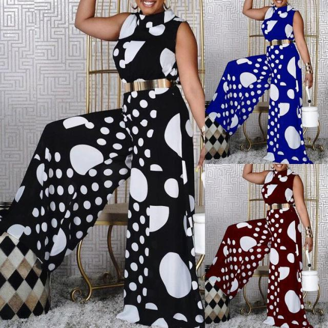 summer new women jumpsuit fashion lace sleeveless casual v neck pocket women rompers black jumpsuits female pants bodysuits Summer New 2021 Women Jumpsuit Fashion Polka Dot Print Sleeveless Wide Leg Pants Ladies Casual Jumpsuits Rompers Playsuits