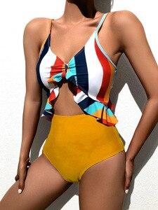 Striped Swimsuit Patwork Plus Size Swimwear Cut Out Sexy Monkini Frill Bathing Suit Women One Piece Bodysuit Swim Suit