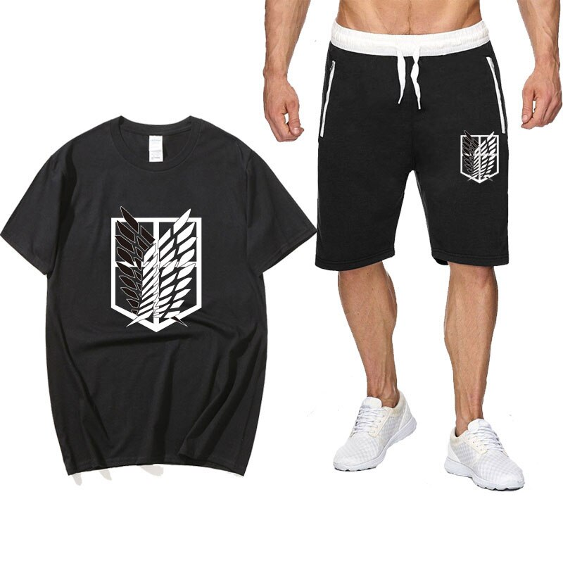 Summer Two Piece Set Anime Attack On Titan cotton men's T-shirt Sports Shorts Streetwear Shorts pantsuit Sets Sweatpants