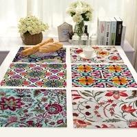 cotton linen placemats plant flowers printed coasters non slip insulation mats table bowls kitchen table decorations 4232cm 1pc