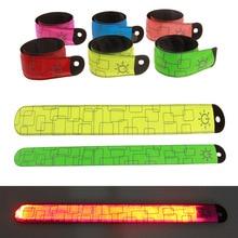 2PCS LED Armband Wristband Reflective Flashing Strip Slap Band Ankle Glow Bracelet Safety Light for Night Jogging Walking Biking