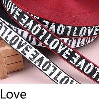 5m 2cm printed love letter ribbon belt diy handmade sewing clothes hat cap supplementary material grosgrain ribbon stain webbing