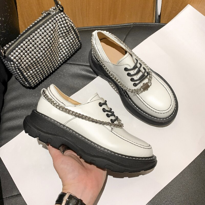 AIYUQI Women's Shoes Genuine Leather 2021 New England Style Platform Women's Loafers Chain Lace-up S