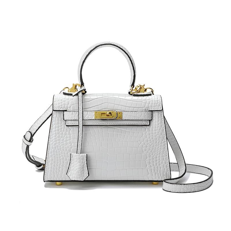 Genuine Leather Handbags Bags for Women New Style Crocodile Pattern Kelly Portable Mini Cowhide One-Shoulder Diagonal Bag