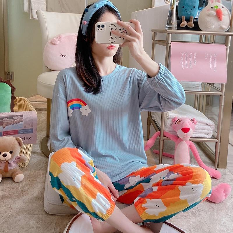 Синяя-Пижама-женский-весенний-Новый-хлопковый-костюм-в-Корейском-стиле-с-длинными-рукавами-повседневный-тонкий-студенческий-костюм-для-л