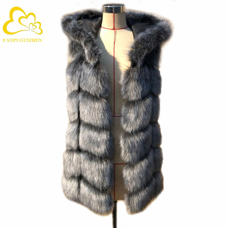 Fur Vest Women Hooded Faux Fur Vest Coat Winter Jacket Sleeveless Faux Fur Coat Women Faux Fur Jacket фото