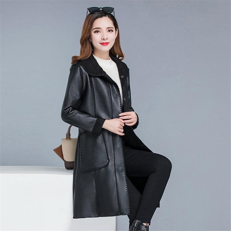 Long lambskin fur one large size women's coat jacket autumn and winter leather jacket ladies Korean leather jacket enlarge