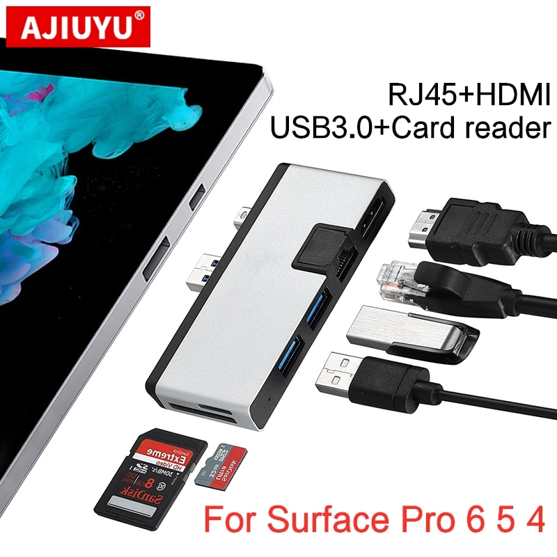 AJIUYU USB 3.0 Hub mini DP to Multi RJ45 HDMI For Microsoft Surface Pro 6 5 4 Dock Adapter Splitter Port pro4 pro5 pro6 docking