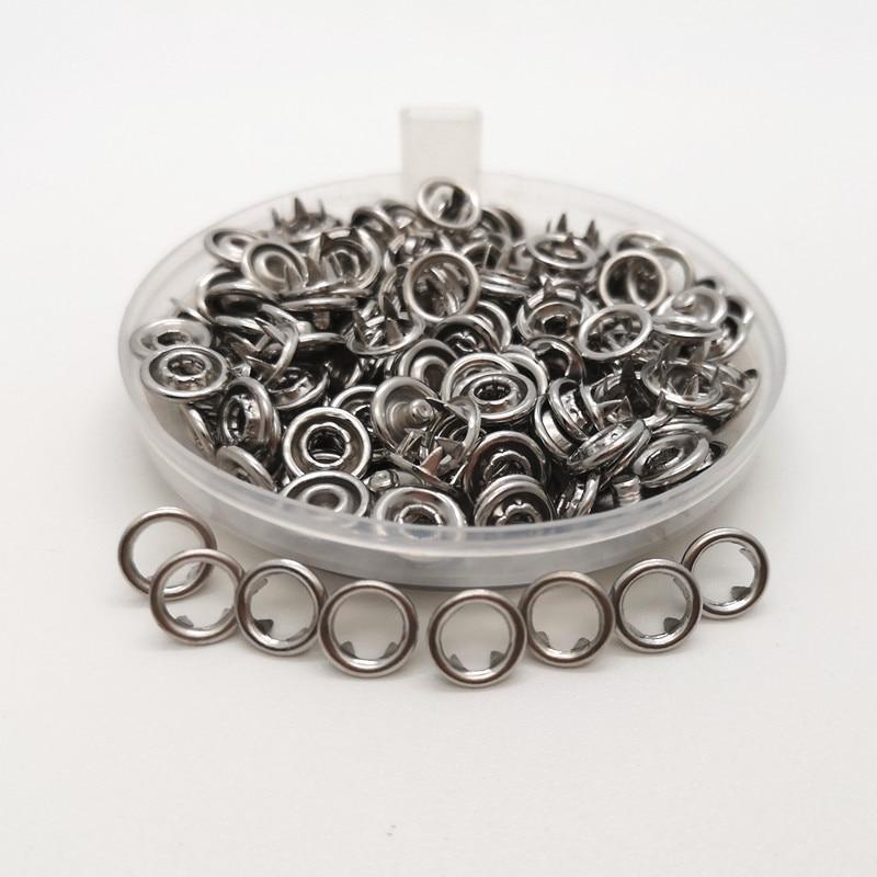50sets plata Metal punta botones sujetadores mameluco del bebé hebilla botón ropa coser 7,2mm/ 9,5mm/11mm