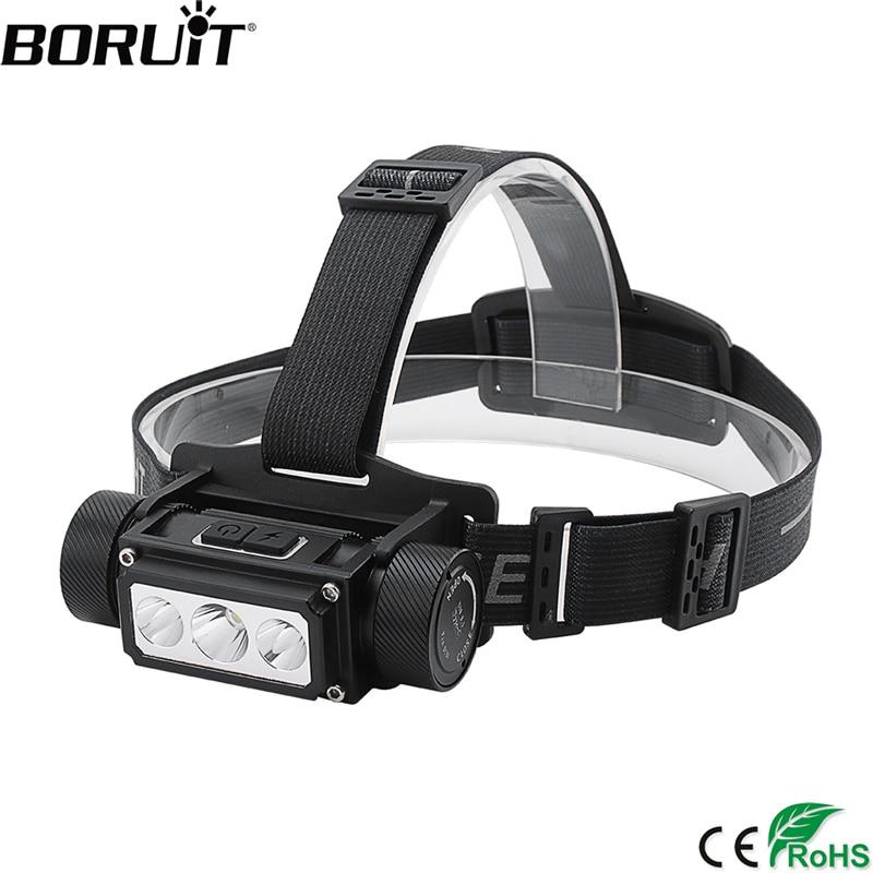 BORUiT B39 XM-L2 + 2 * XP-G2 LED Faro de memoria Faro de función 21700/18650 USB TYPE-C linterna de cabeza recargable Camping caza