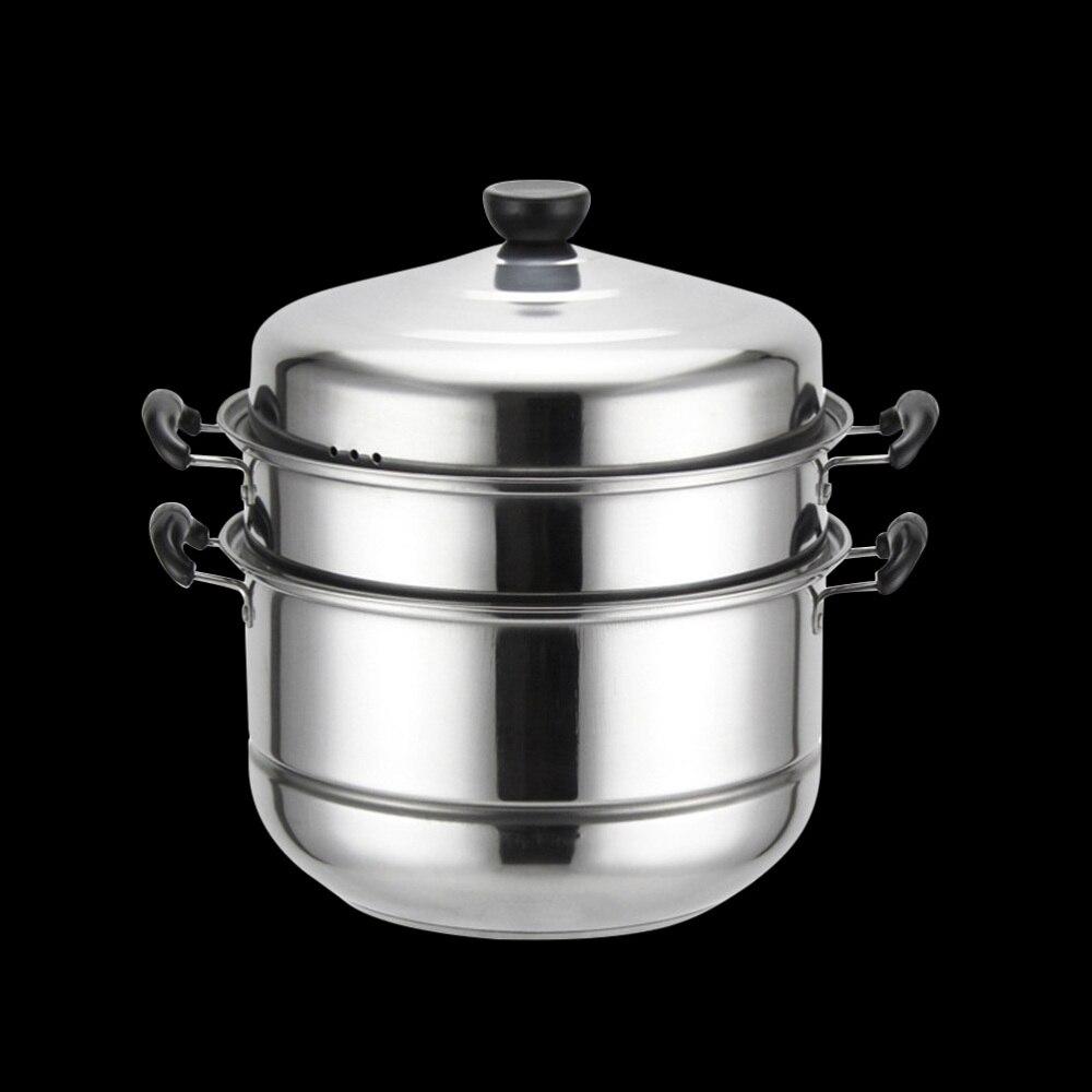 الفولاذ المقاوم للصدأ ثلاث طبقات سميكة باخرة متعددة الوظائف حساء البخار وعاء العالمي الطبخ الأواني ل طباخ التعريفي موقد غاز (28