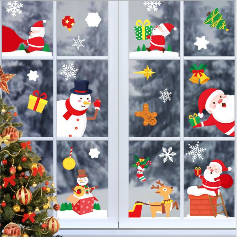 adesivos de decoracao de janela de natal flocos de nece eletrostaticos familia decoracao