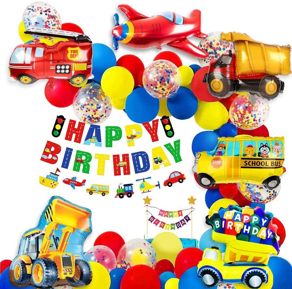 Garçon anniversaire украшения для мальчиков Детский душ мяч Багги школа автобус поезд pompier мото самолет воздушный шар транспорт
