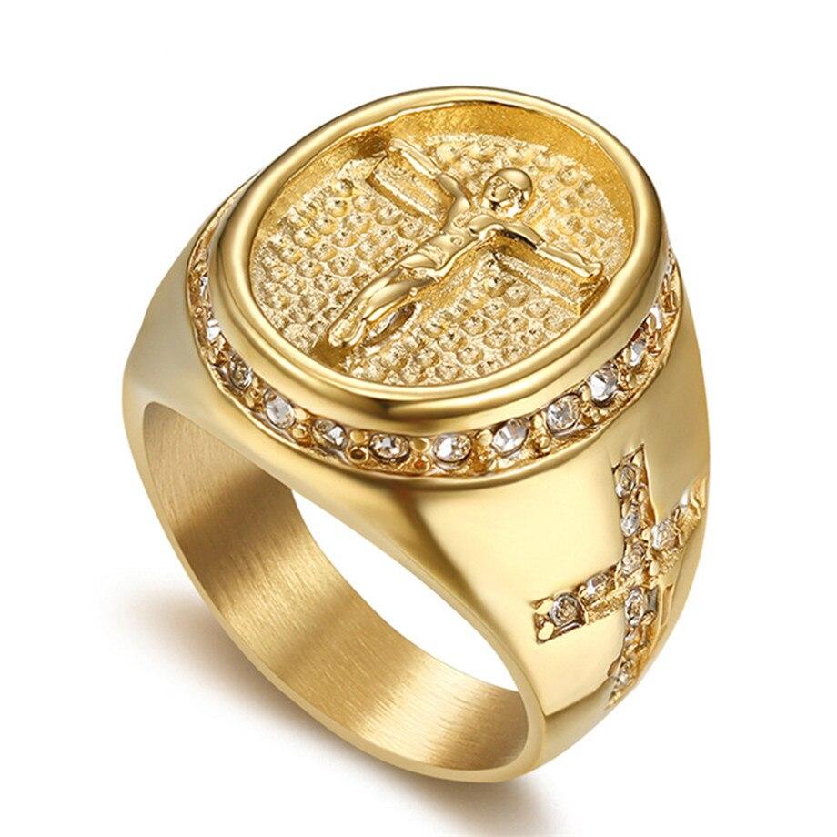 Anillo de zirconia cúbica brillante para hombre de Hip Hop, anillos de cruz de Jesús de acero inoxidable de Color dorado para hombre, joyería religiosa, triangulación de envíos