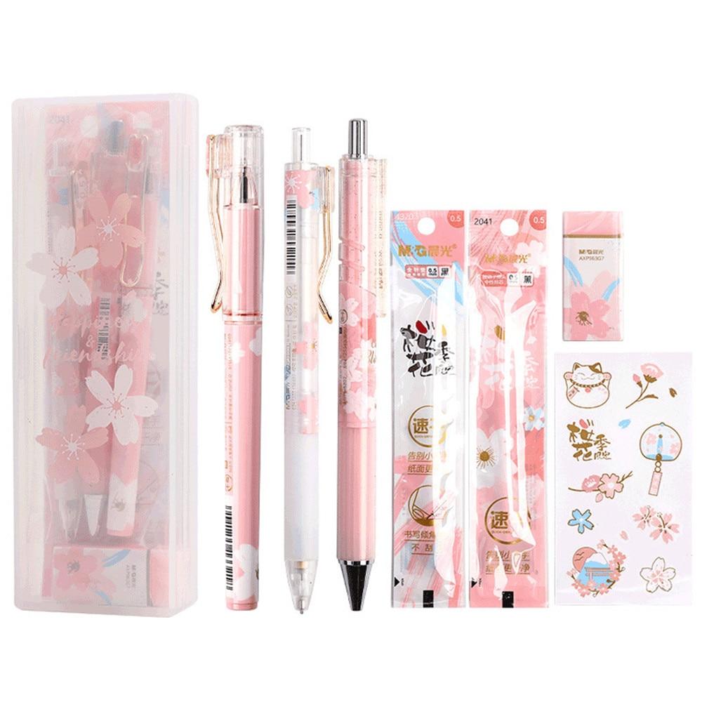 AliExpress - 6-8pcs/set Cute Sakura Gel Pens 0.5mm Mechanical Pencil with Refills Kawaii Stickers Gift Pen Box for Girls School Stationery