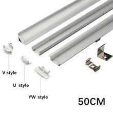 1 Juego de barras de luces LED de 50cm perfil de aluminio transparente/cubierta lechosa U/V/YW estilo en forma de tira de luces LED