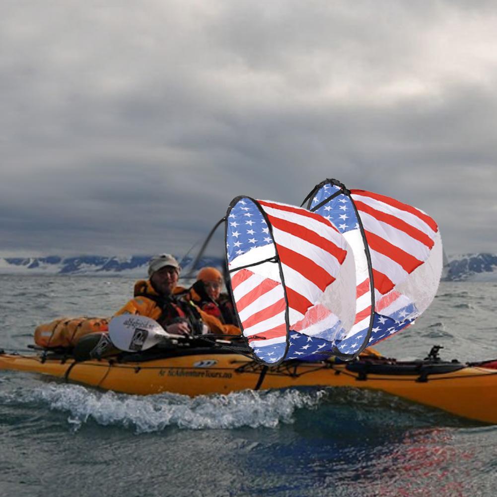 Bandera de EE. UU. Plegable ventana transparente vela de viento para Kayak canoa bote inflable