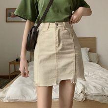 Women Summer Black Solid Asymmetrical Demin Skirts Vintage High Waist Pencil Pockets Button Streetwear Mini Jeans Skirt Faldas