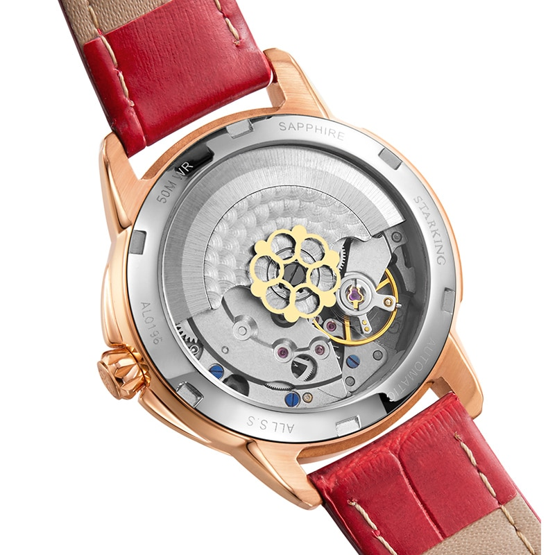 STARKING Ladies Elegant Watch Sapphire Crystal Automatic Date Self-wind Wristwatches Red Leather Waterproof Clock reloj mujer enlarge