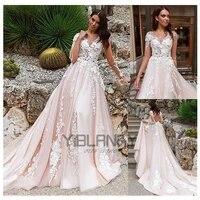 yilibere lace wedding dress 3d flower atmosphere luxury long sleeve bridal dresses v neck lace tailing big skirt