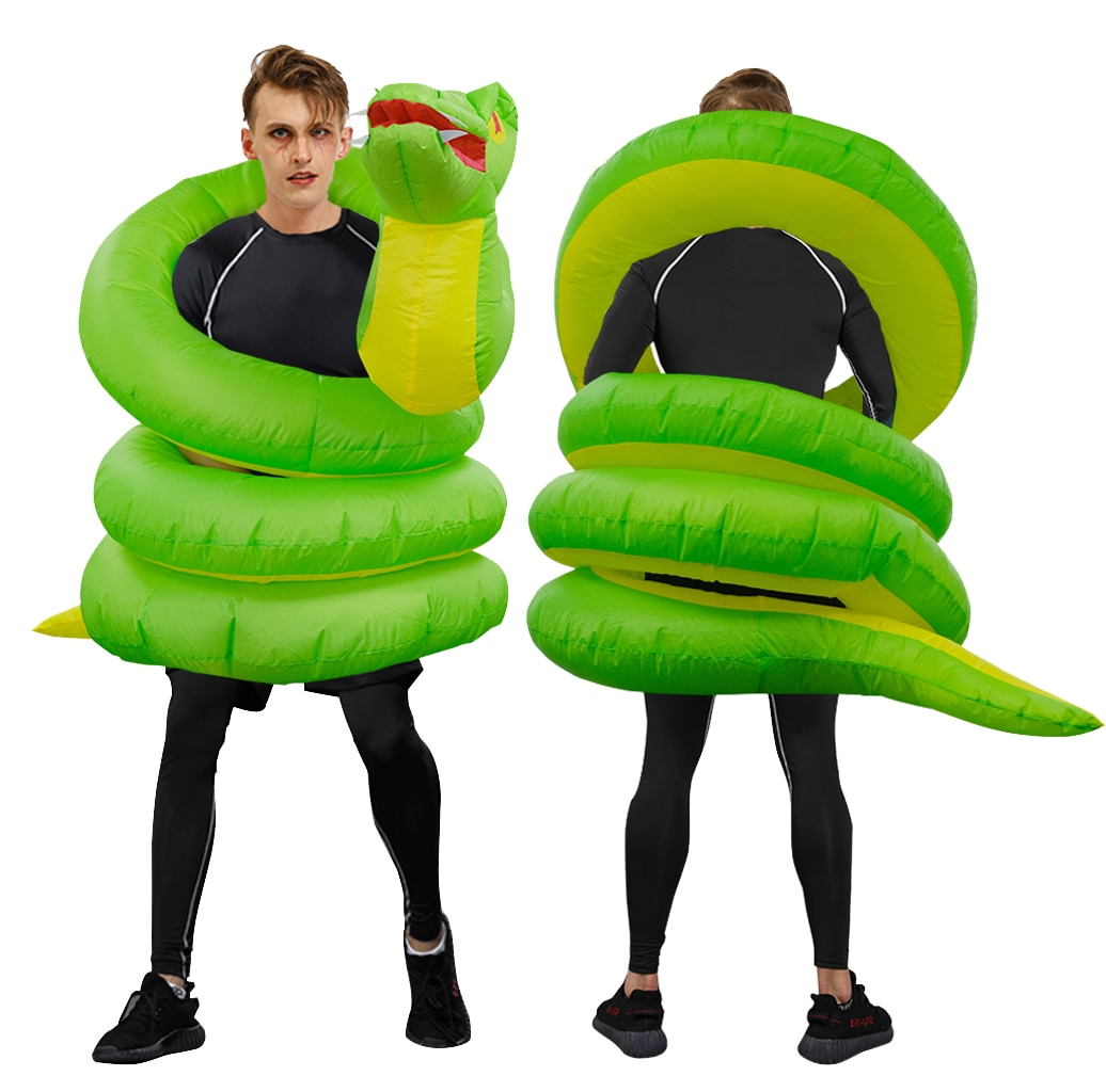 Verde curva miedo serpiente monstruo inflable adulto disfraces trajes Cosplay de Navidad y fiesta de disfraces Halloween papel jugar Disfraz para adultos