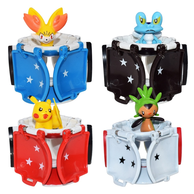 1 шт. Takara Tomy Pokemon Pikachu pokemon ball + 1 шт. бесплатно крошечные случайные фигурки внутри экшн-Фигурки игрушки