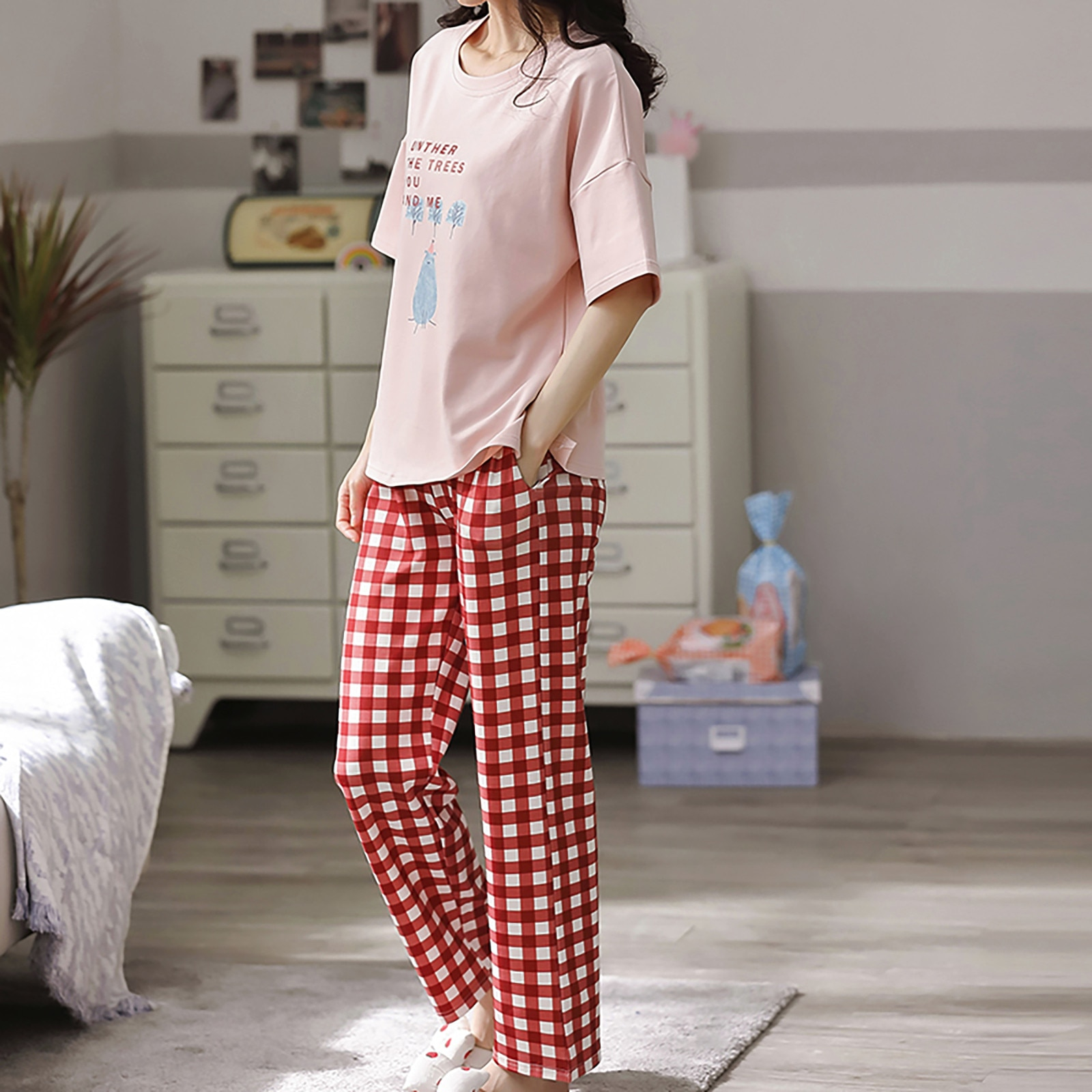 pajama sets Women Fashion plus size homewear Sets Lounge Wear Pocket Home Sleep Set Tops+Pants 2021