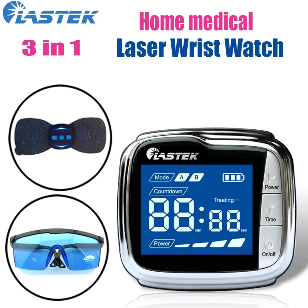 LASTEK-مجموعة صحة الأسرة ، 3 في 1 ، جهاز علاج ساعة اليد بالليزر 650 نانومتر ، نظارات واقية ، جهاز تحكم عن بعد لاسلكي ، ملصق تدليك عنق الرحم