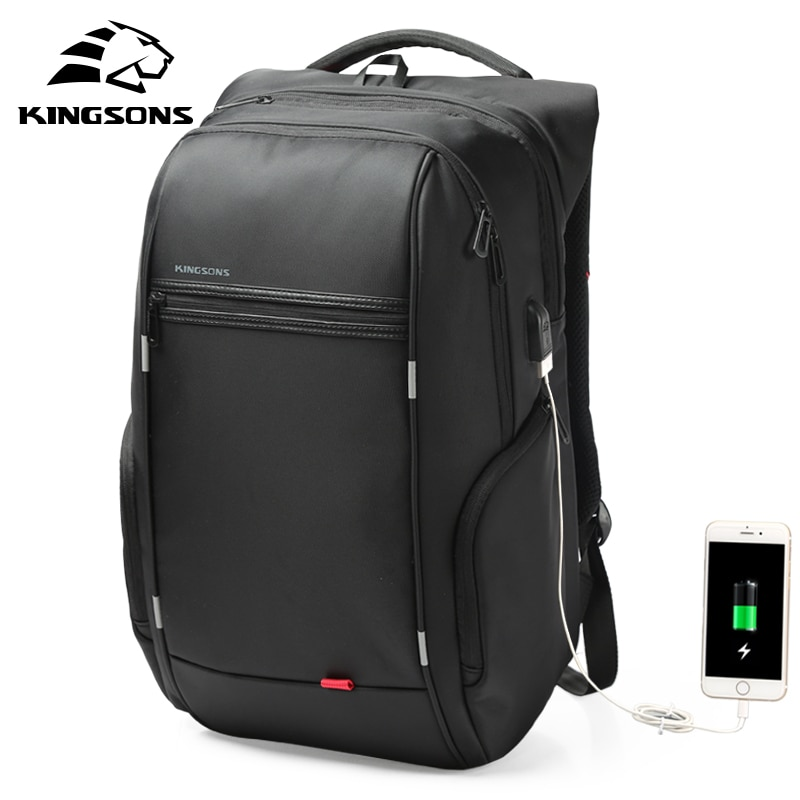 Kingsons 13 Inch External USB Charging Mens Backpack for Computer Bag Women Backpacks Waterproof Anti-theft School