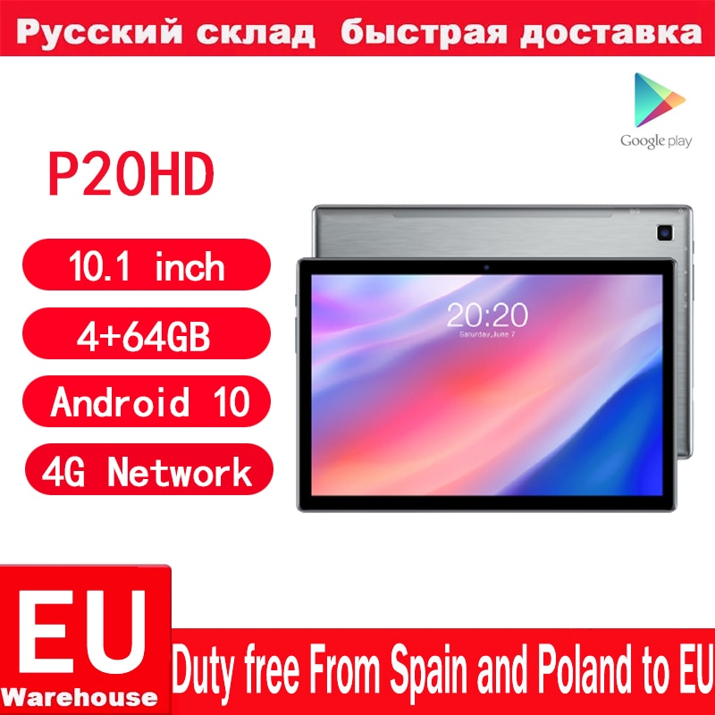 Teclast P20HD Android 10 Tablets 4G Network Phone Call Octa Core 10.1 inch IPS 1920×1200 4GB RAM 64GB ROM SC9863A Tablet pc