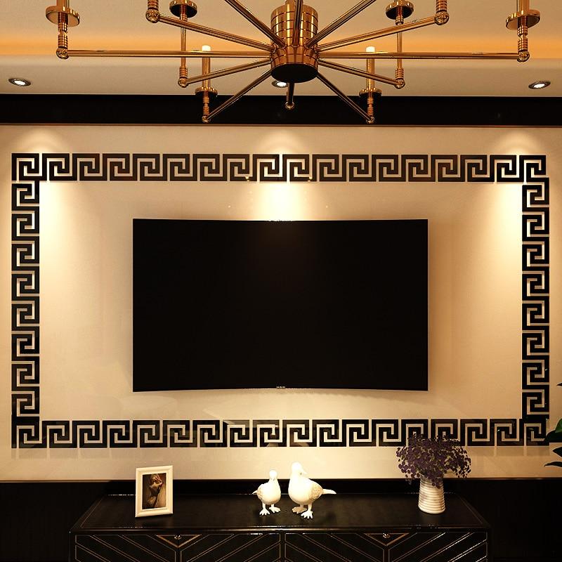 100PCS Mirror Waist Line acrylic wall Decor Sticker Home Living Room sticker Bathroom room acrylic Art decoration