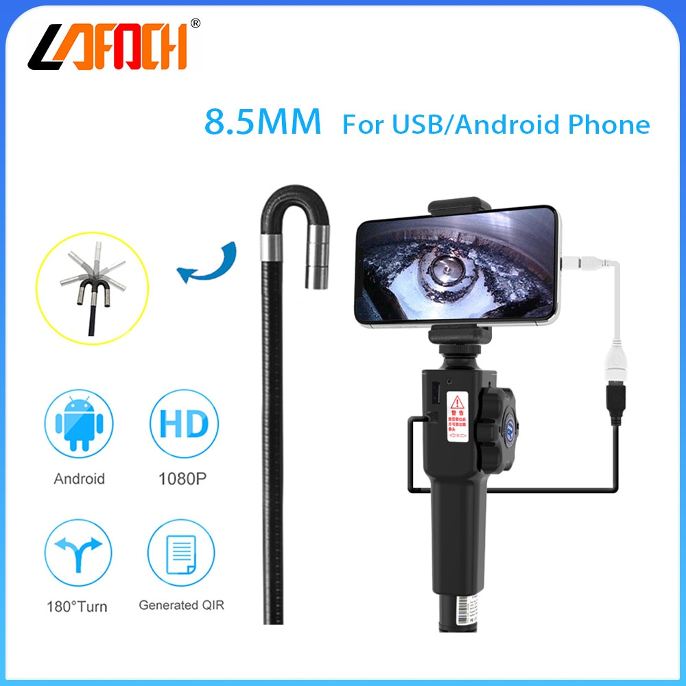 8.5mm Probe USB Borescope Vedioscope Engine Drain Pipe Inspection Camera IP67 Waterpoor Camera with two way 180 Degree turn