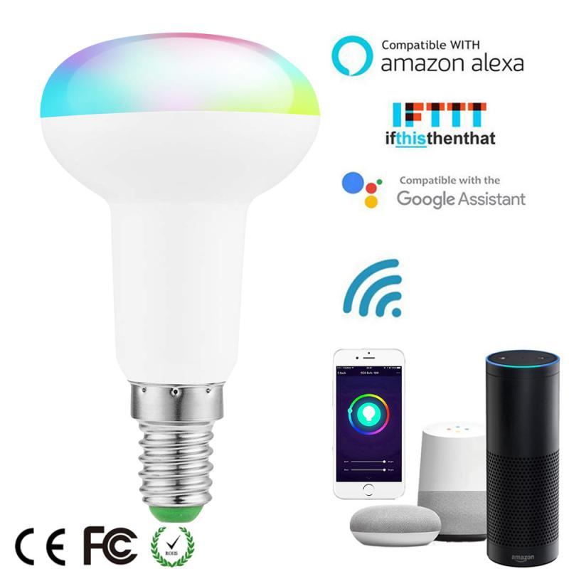 E14 WiFi Smart Light Bulb Smart LED Bulbs 7W RGB+CW LED Lamp Voice Control For Alexa Google Home Family Intelligence System NICE