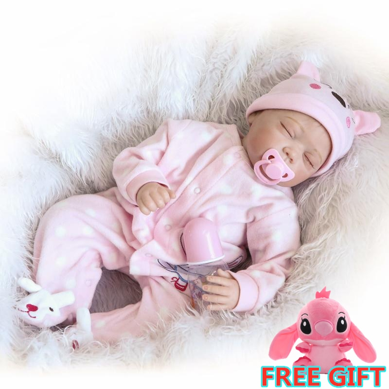 55cm Soft Silicone Reborn Baby Doll Toy Lifelike For Girl Full Vinyl Body Newborn Girls Doll Birthday Gifts Xmas Gifts