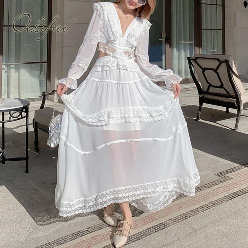 Ordifree-فستان سهرة طويل مكشكش ، تونك مثير بأكمام طويلة ، دانتيل أبيض ، رسن ، ملابس بحر ، صيف 2021